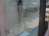 Exterior Glass Sign With Standoffs